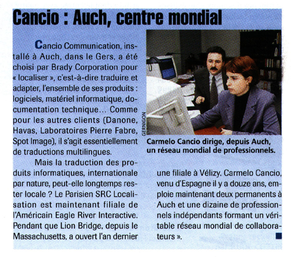 cancio communication traduction référence client